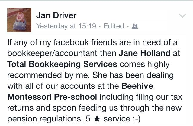 Testimonial Jan Driver - Recommended bookkeeper Hampshire West Sussex